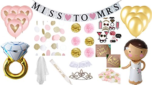 Bridal Shower Bachelorette Party Decorations Miss to Mrs Banner Garland Pink Gold Heart Balloons Pom Poms Giant Diamond Ring Team Tattoos Sash Veil Polka Dot Tiara Confetti Wedding Photo Prop Kit