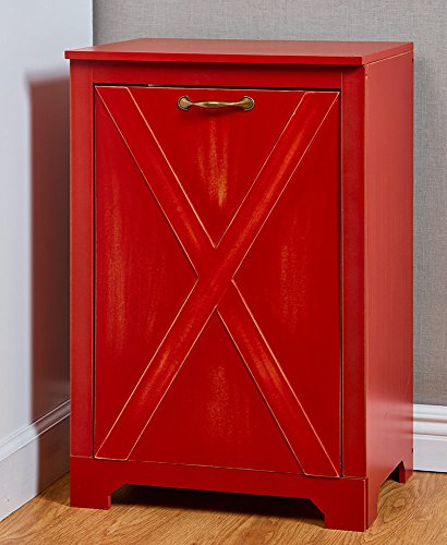 The Lakeside Collection Farmhouse Tilt Door Trash Bin - Barn Red
