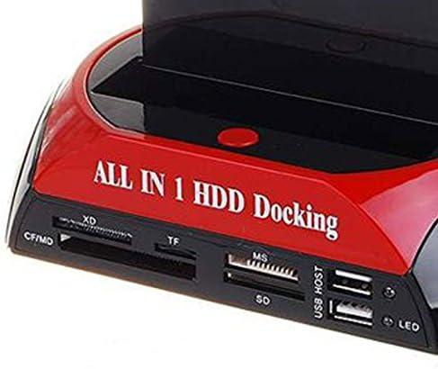 REFURBISHHOUSE TCC-S862-DE USB 2.0 SATA IDE Dual-Bay HDD Festplatten Docking Station mit Kartenleser und USB 2.0 Hub Fuer 2.5 3.5 Zoll IDE SATA I//II//III Festplatte SSD EU Stecker