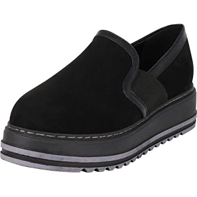Cambridge Select Women's Stretch Slip-On Flatform Creeper Loafer, 5.5 B(M) US, Black | Shoes