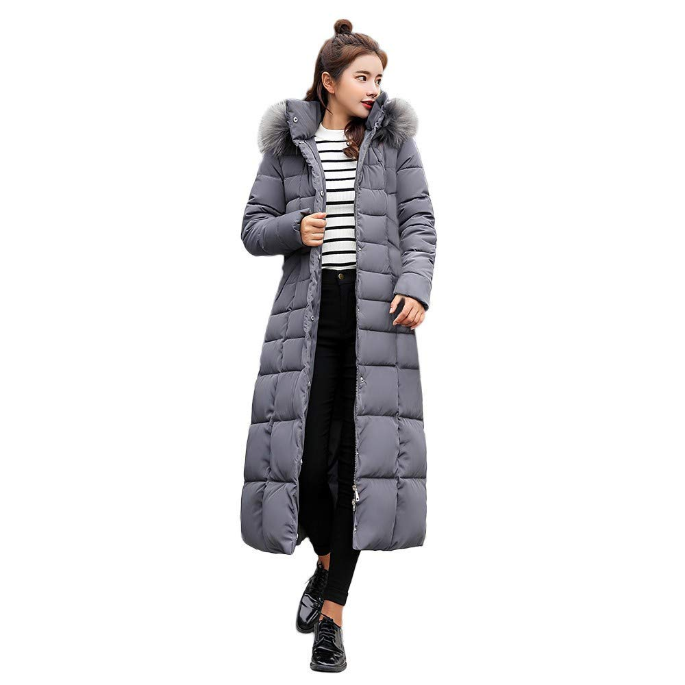 Women's Jacket Coat, Ladies Solid Casual Thicker Winter Outwear Slim Long Overcoat with Faux Fur Hooded by Nevera Gray by Nevera Women