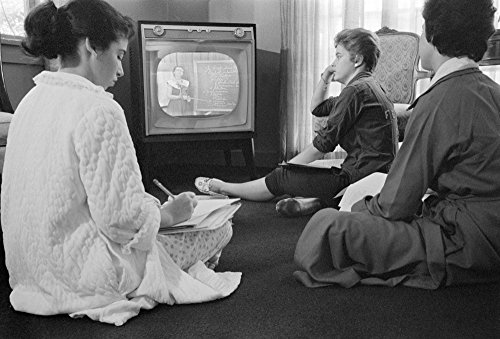 Anti-Integration 1958 Nthree High School Girls In Little Rock Arkansas Sitting On The Floor While Learning A School Lesson From The Television At Home When The Little Rock Schools Were Closed To Avoid ()
