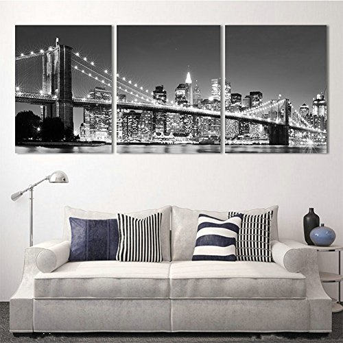 H.COZY 3 Piece Modern wall Painting New York Brooklyn bridge