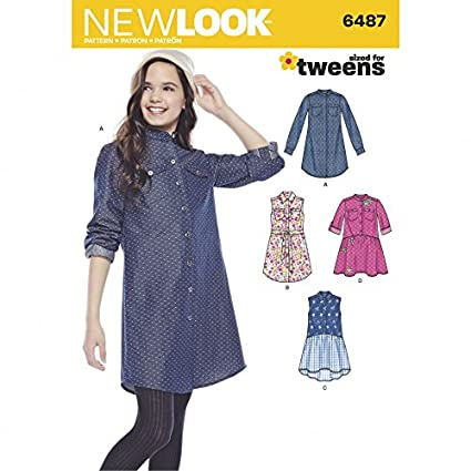 Amazon New Look Girls Sewing Pattern 6487 Shirt Dresses Tie
