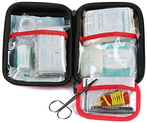 WELL STRONG 128 Pieces First Aid Kit Compact and Lightweight First Aid Bag Essential for Home, Car, School, Office, Sports, Travel, Camping, Hiking or Any Other Outdoors Activities