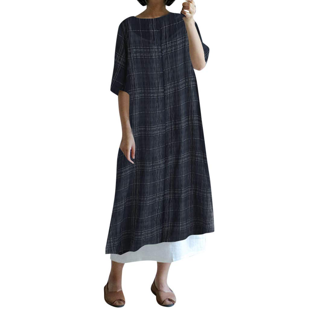 Women's Plus Size Cotton Linen Plaid Printed Maxi Dress Summer Casual Round-Neck Short Sleeve Wasit Strap Split Long Dress (Navy, S) by Cealu