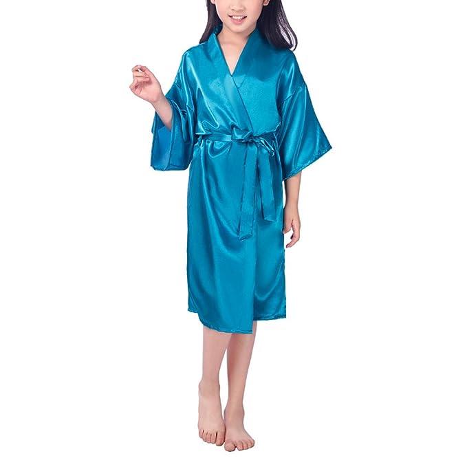 FY Niñas Unisex Kimono Robe Albornoz Ducha Bathrobe Seda De Imitación Camisón Ropa de Dormir Cumpleaños De Regalo Homewear Spa Fiesta Cumpleaños De Regalo: ...
