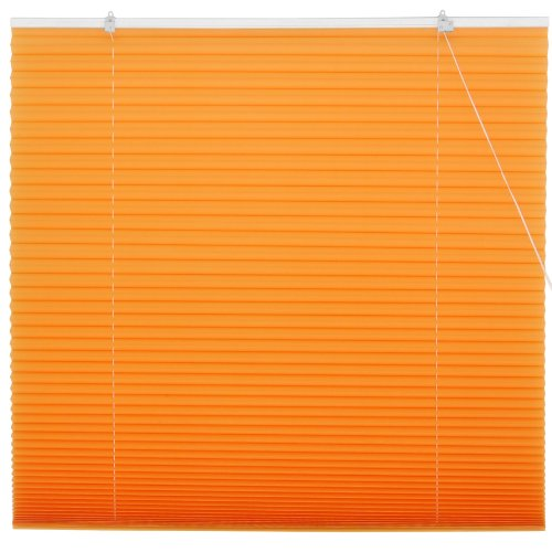 Oriental Furniture Pleated Shades, 48-Inch, Tangerine