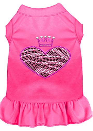 Mirage Pet Products 57-58 SMBPK Pink Zebra Heart Rhinestone Dress Bright, Small