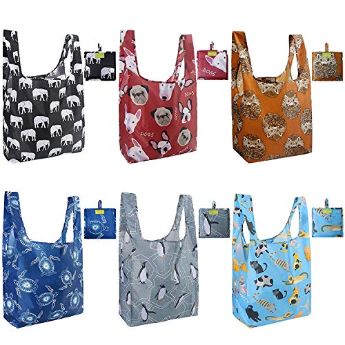 Reusable Grocery Shopping Tote Bags Foldable Machine Washable Elephant Hedgehog product image