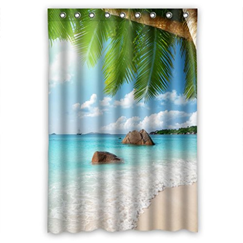 Shower Curtain Charming Seascape Scenery Beach Resort Measure 48