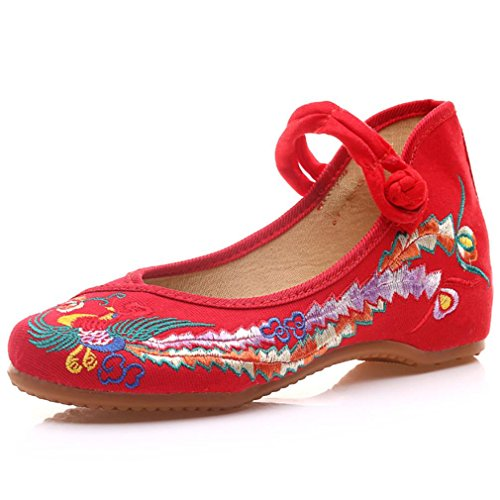 R&V Fashion Women Shoes Walking Dancing Embroidery Vintage Mary Jane Styles Flats Size US 4.5-US 9 (US 5.5(Insole: 23cm), Red)