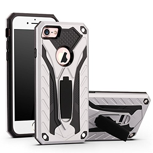 e 6 Case,Funfe Heavy Duty Built-in Kickstand Protective Cases for Apple iPhone 6 6s Dual Layers Armor Shock Absorption Impact Resistant Rugged Stand Back Cover(Silver) ()