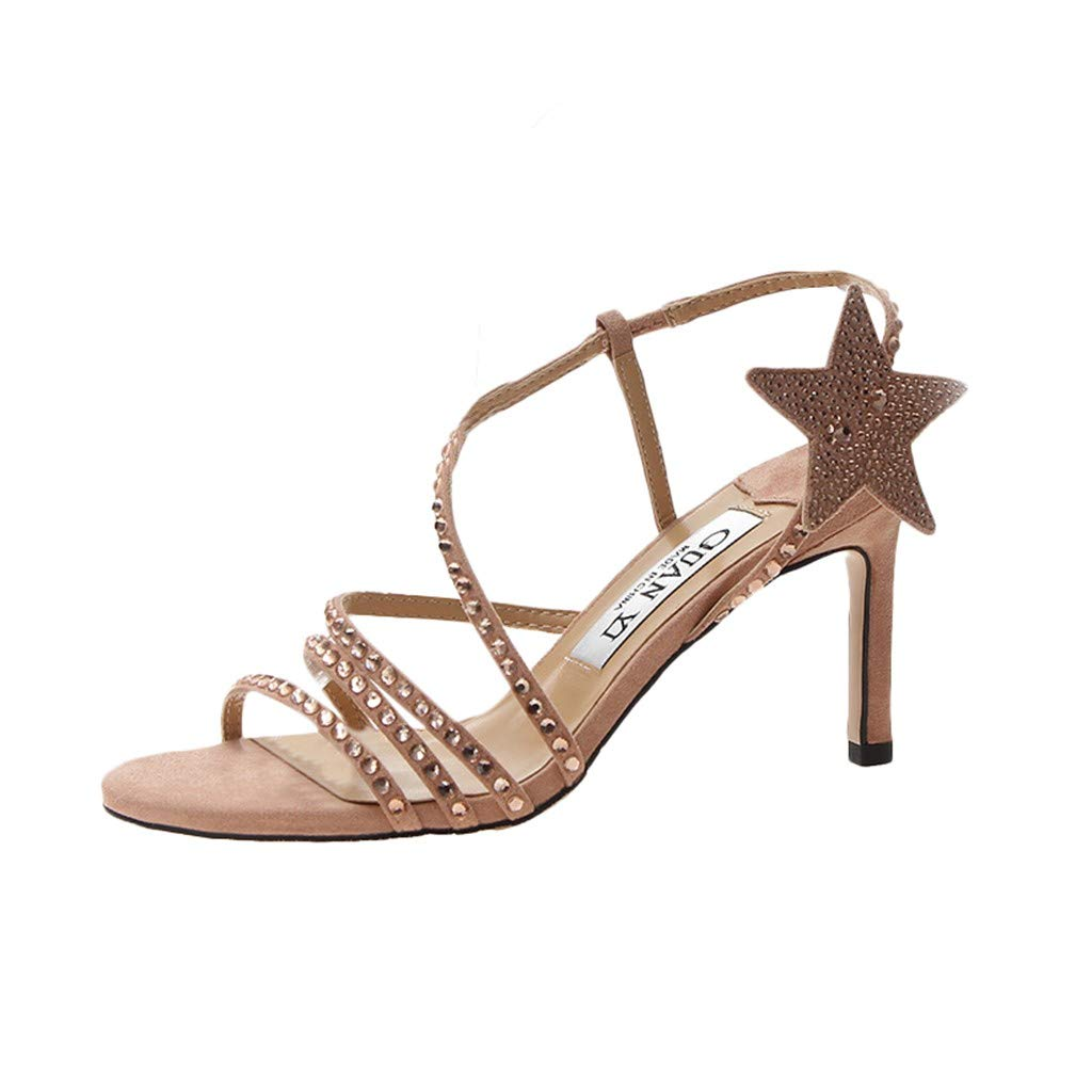 YEZIJIN Women's Rhinestone Open Toe Point Casual Shoes High Heel Strappy Sandals Platform/Flats/High Heel Sandals Beige