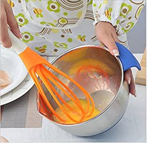 Multifunction 2 in 1 Rotatable Egg Beaters Food-grade PP Whisk Cook Tools Kitchen Blender Detachable Washable Egg Mixer (orange)