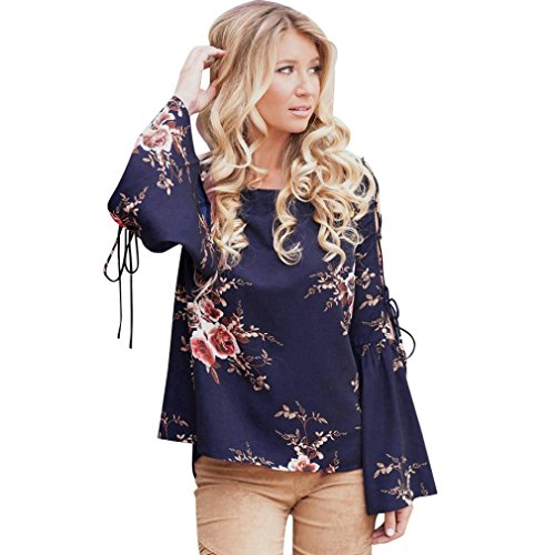 SMALLE ◕‿◕ Clearance,Women Floral Flare Sexy Cold Off Shoulder Long Sleeve Shirt Bandages Top Blouse -