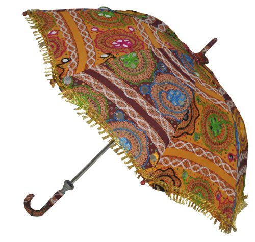 Indian Handmade Designer Cotton Fashion Multi Colored Umbrella Embroidery Boho Umbrellas Parasol 50 Pcs Lot by Rajasthali (Image #1)