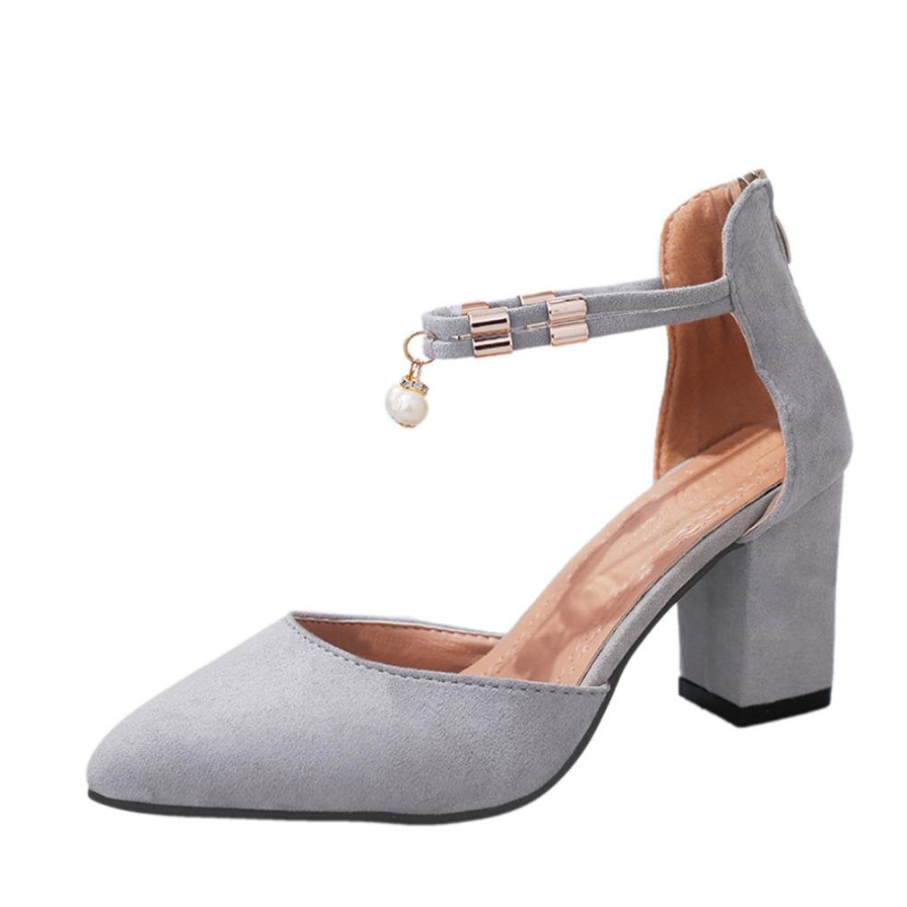 Amiley Summer Womens Ankle Strap Chunky Block Heeled Sandals Pointed Toe Ladies Wedding Pumps Shoes (7, Gray)