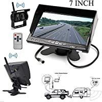HAIN 7 inch Monitor & 1 X Wireless Backup Camera Kit Bus Big Truck Caravan Parking System with LCD Monitor Screen and Wireless reversing rearview rear view backup camera