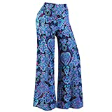 F_topbu Womens Pants Elastic Waist Daily Casual Loose Print Stretchy Wide Leg Palazzo Lounge Long Pants