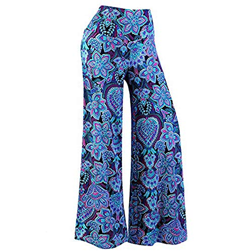 ONLY TOP Women's USA Fold Over High Waist Wide Leg Long Palazzo Pants Blue