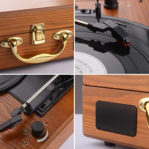 JORLAI Vinyl Record Player, 3 Speed Suitcase Turntable with Built-in Speakers, PC Recorder, Headphone Jack, RCA line Out - Wood … by JORLAI (Image #4)