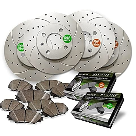 Maxim Brakes Direct Front and Rear Premium Drilled and Slotted Brake Rotors and severe Duty Metallic Pads - Brake Pads Express Van