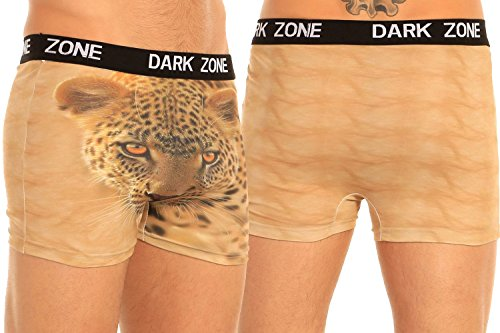 Mens Exotic Boxer Briefs Darkzone Series Soft Stretchy Underwear in Wild Prints - Leopard
