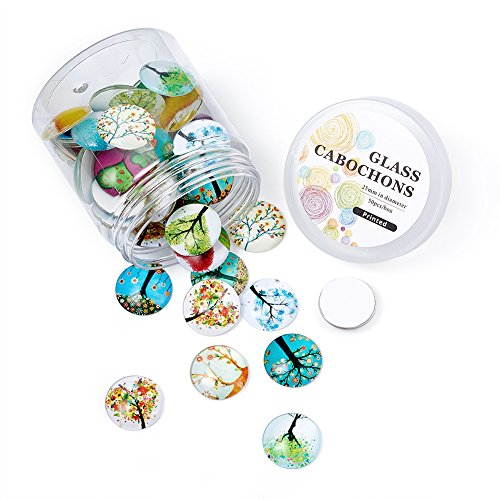 Pandahall About 50pcs/Box Tree of Life Printed Half Round Flat Back Glass Cabochons 1 Inch (25mm) for Jewelry Making