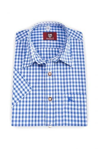 Trachtenhemd kurzarm blau karo Daniel-Copy Größe S (37/38)