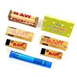Raw Classic Natural Unrefined Rolling Papers 1 1/4 Size Bundle with Rolling Machine, Tips, Doob Tube and Dank Paper Scoop Card
