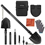 Feyrinx Camping Shovel Multitool Folding Survival Shovel High Carbon Portable Entrenching Tool for Hiking, Fishing, Gardening (Color: black)