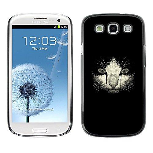 [Neutron-Star] Snap-on Series Coque de protection rigide Cas Case pour Samsung Galaxy S3 [Pleurer Kitten Sad Cat dessin noir]