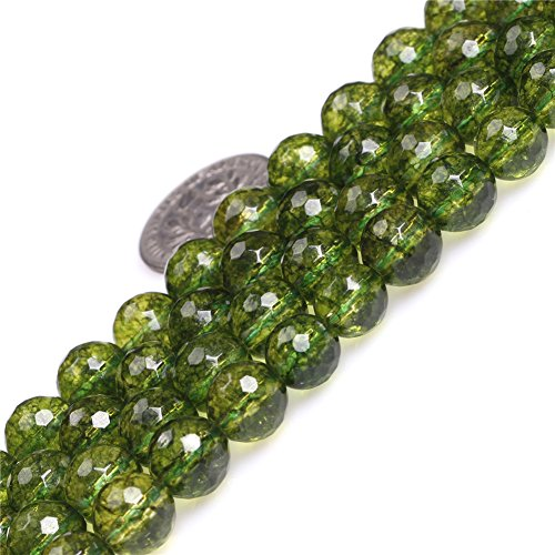 SHG 8mm Round Faceted Green Peridot Beads Natural Gemstone Agate Beads For Jewerly Making Beads Strand 15 inches Jewelry Making Beads Spacer Beads (8mm Faceted Green Peridot)