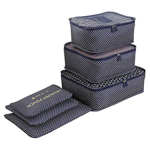 Clothes Travel Luggage Organizer Pouch (Dark Blue) Set of 6 - 5