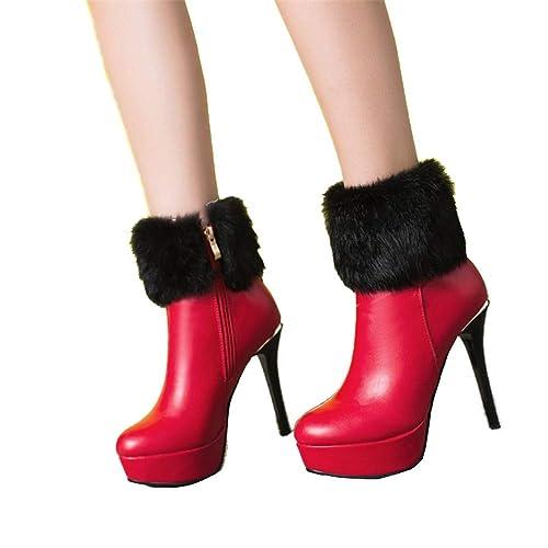 Shirloy Botas tacón súper Alto Botas algodón para Mujer Botas ...