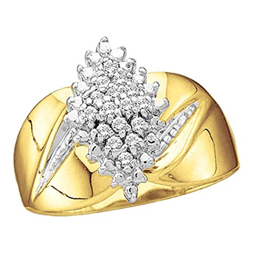 Size - 7-10k Yellow and White Two 2 Tone Gold Marquise Shape Center Cluster Setting Round Cut Engagement or Right Hand Cocktail Diamond Ring 13mm (.15 cttw) ()