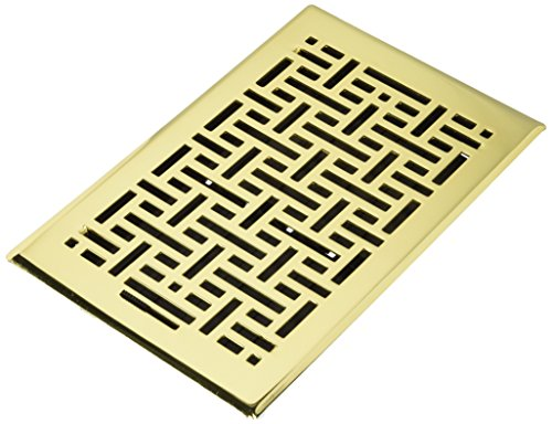 Accord Ventilation AMFRPBB610 Wicker Design Floor Register, Polished Brass, 6