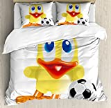Lunarable Duckies Duvet Cover Set Queen Size, Soccer Themed Cartoon Style Rubber Duck Toy and Football Nature and Sport Pattern, Decorative 3 Piece Bedding Set with 2 Pillow Shams, Multicolor