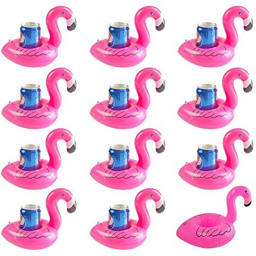 TONUNI Flamingo Inflatable Drink Holder Float Coaster 12-Pack]()