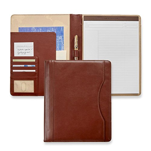Levenger Jackson Folio, Full-Grain Leather Portfolio with Freeleaf White Annotation Ruled Pads (50 pages, top perforated 90-gsm paper) brown, AL14250