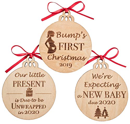 MaxDigital Pregnancy Gifts - Wooden Decor Christmas Ornaments | Expectant Mom, Pregnant Mom Gifts | Gender Reveal, Pregnancy Announcement Keepsake, Set of 3 (Ornaments Mother Expectant Christmas)