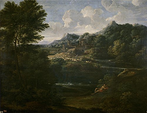 Oil Painting 'Dughet Gaspard Paisaje Con Pastor 1644 45', 8 x 10 inch / 20 x 26 cm , on High Definition HD canvas prints is for Gifts And Garage, Kitchen And Laundry Room Decoration, sale