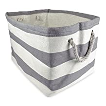 DII Woven Paper Textured Storage Basket, Collapsible & Convenient Storage Solution for Office, Bedroom, Closet, Toys, Laundry - Medium, Gray Rugby Stripe