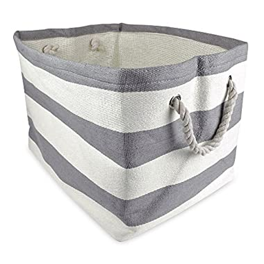 DII Woven Paper Textured Storage Basket, Collapsible & Convenient For Office, Bedroom, Closet, Toys, Laundry - Large, Gray Stripe