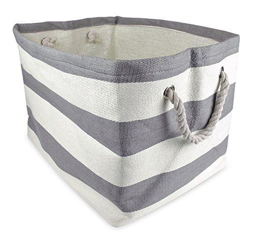 "DII Woven Paper Storage Basket or Bin, Collapsible & Convenient Home Organization Solution for Office, Bedroom, Closet, Toys, & Laundry (Medium - 15x10x12""), Gray Rugby Stripe"