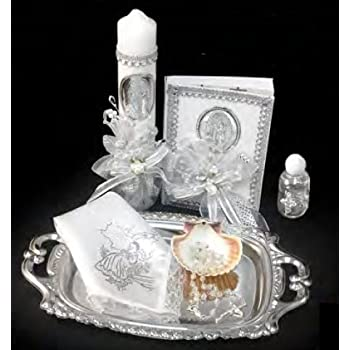 ... Lady of Guadalupe Set for Girl, Boy, or Unisex : Candle, Bible, Dry Cloth, Sea Shell, Rosary and Holy Water Bottle Silver Tray–Bautizo Religious Gift