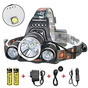 Boruit® Headlamp Headlight 5000 LM with 3*Cree XML T6 LED Super Bright Flashlight for Hunting, Camping, Night Fishing, Running, Reading, Kids, Perfect Hands-free Rechargeable & Waterproof Work Light