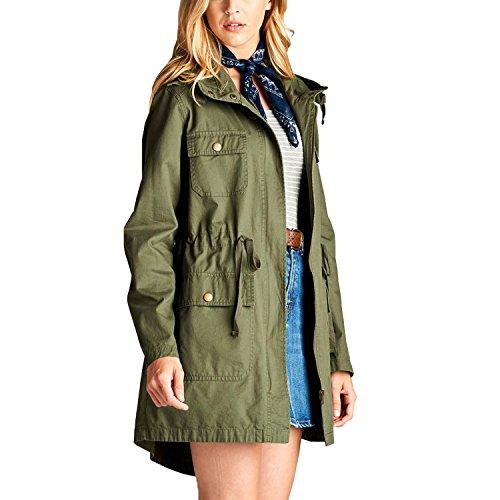 Fashionazzle Women's Versatile Military Anorak Safari Jacket (Large, MSJ06-Olive/Solid)