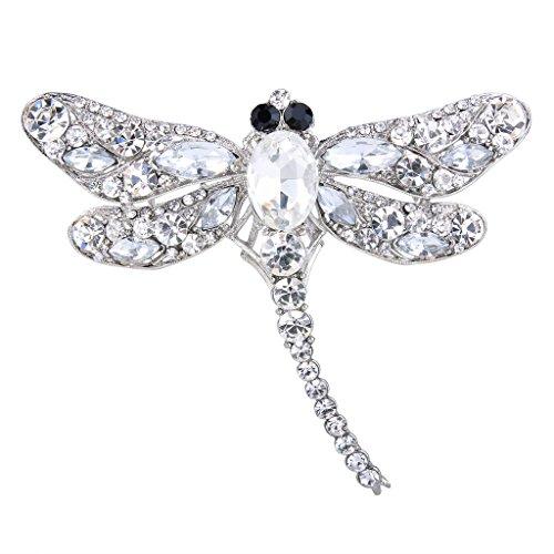 (EVER FAITH Dragonfly Silver-Tone Teardrop Brooch Pin Clear Austrian)
